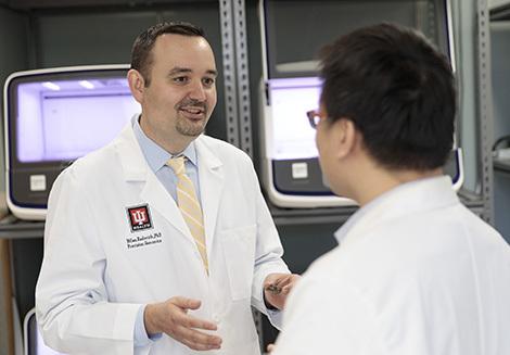 IU Health professionals converse