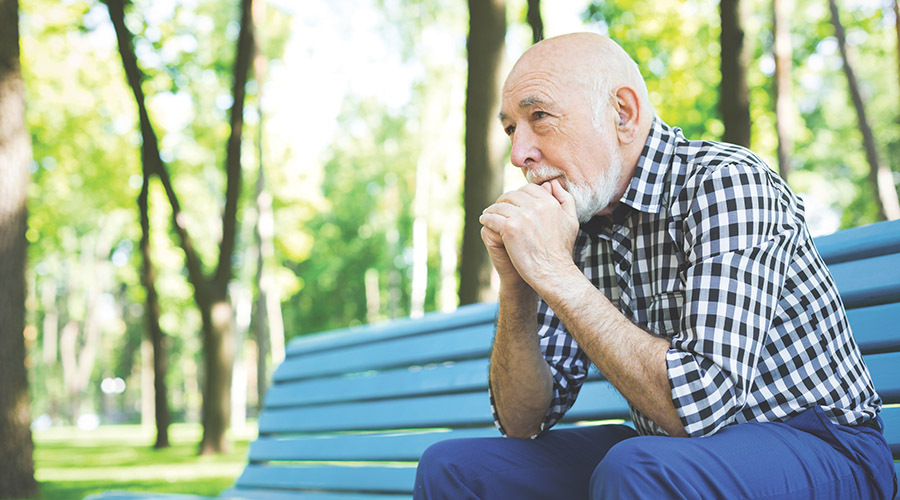 Man thinking on park bench