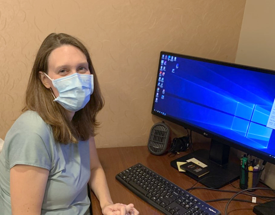 Even though virtual visits are mask-less, Benedek knows the importance of wearing a mask.