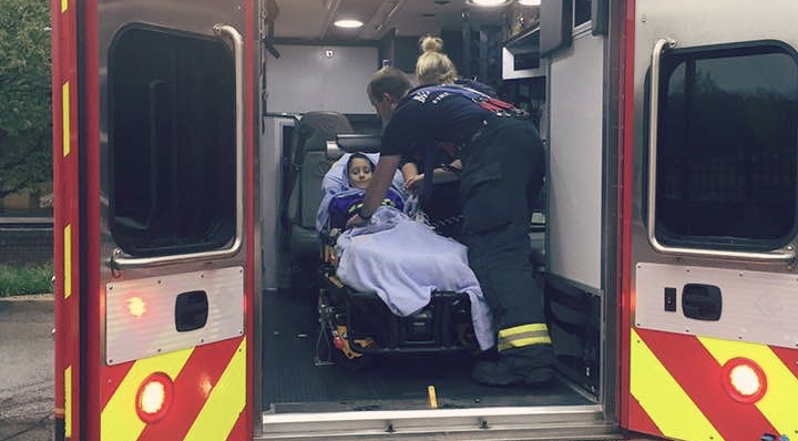 Brooks Murray in ambulance