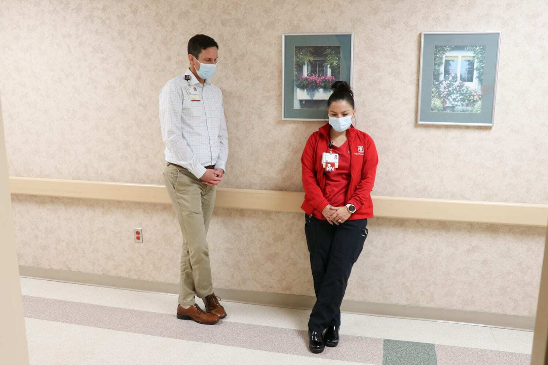 IU Health staff wait in the hallway