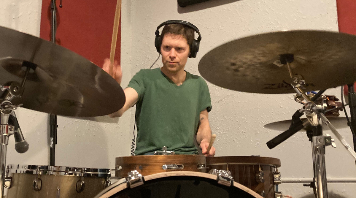Goodenough plays the drums