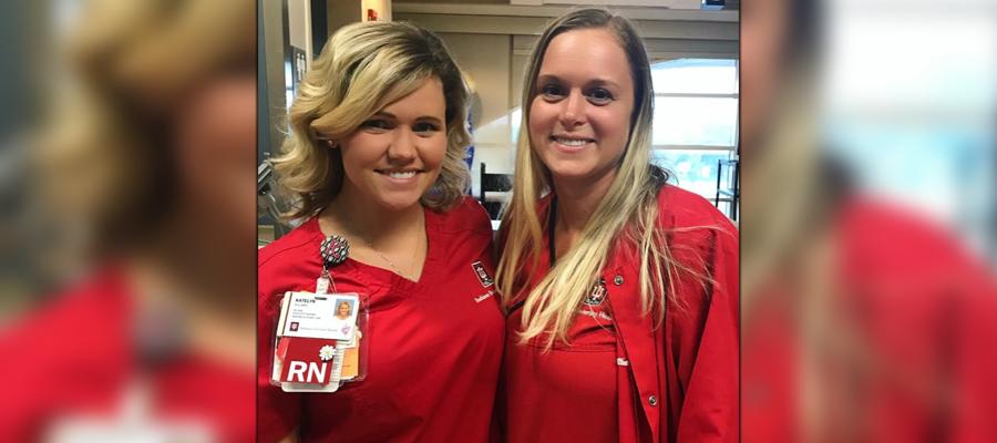 Nurse Julianne Combs with fellow nurse Katelyn Kingsbury
