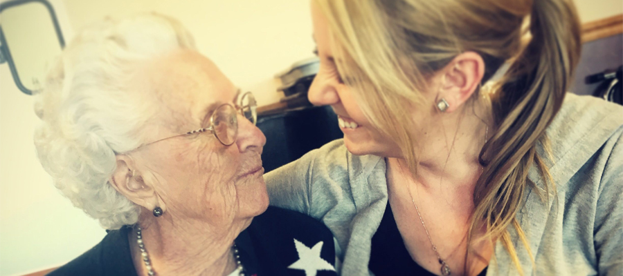 Krohne with her grandmother