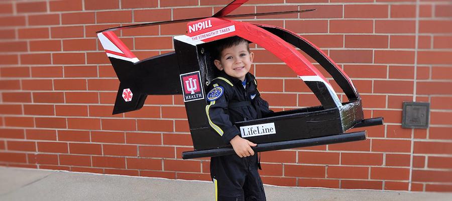 Jack dressed up like a LifeLine pilot for Halloween