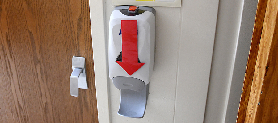 A hand sanitizer station