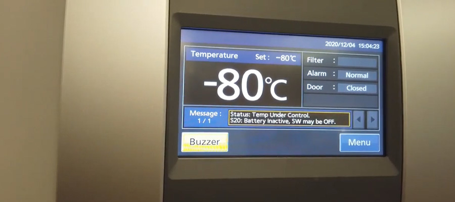 Freezer temperature set at -80 degrees Celsius