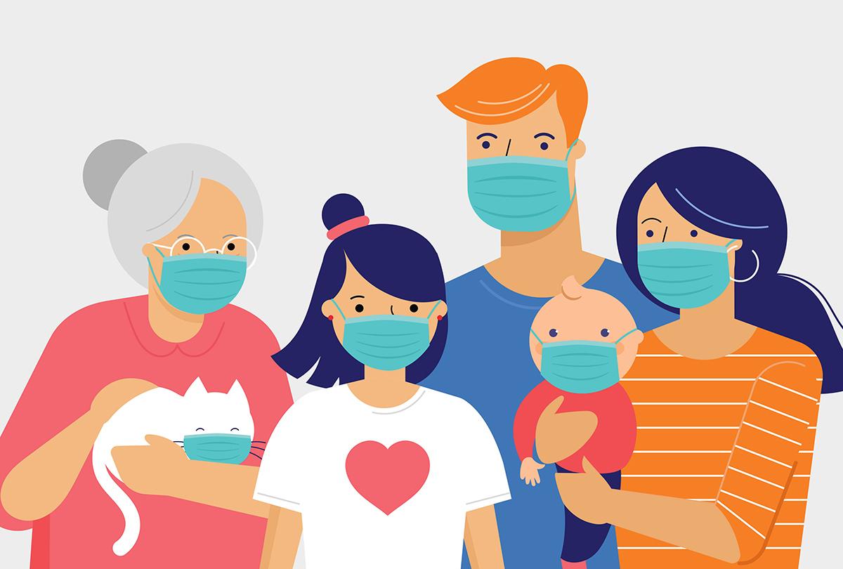 Animated people wearing masks